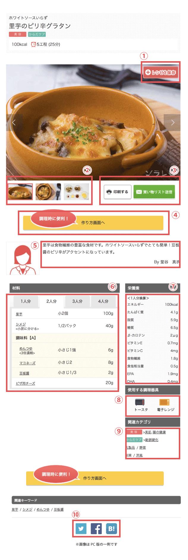 レシピについて説明画面