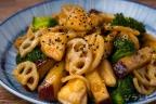 根菜とブロッコリーの甘辛炒め