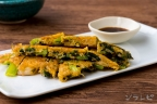 冷凍小松菜とシラスのチヂミ