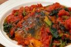 鯖とほうれん草のトマト煮