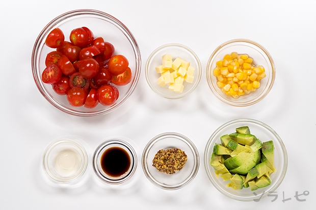 ミニトマトとアボカドのサラダの材料