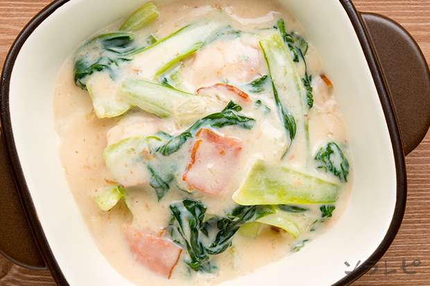 チンゲン菜とベーコンのクリーム煮_main2