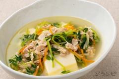 豆腐と豆苗のスープ煮