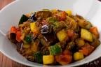 夏野菜の挽肉カレー炒め